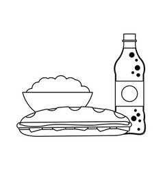 Soda and pop corn with sandwich black and white vector