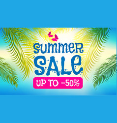 summer sale background shining sun warm sea and vector image