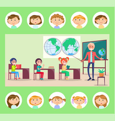 teacher and pupils geography lesson tutor vector image