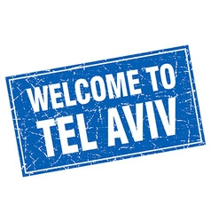 Tel Aviv blue square grunge welcome to stamp vector image