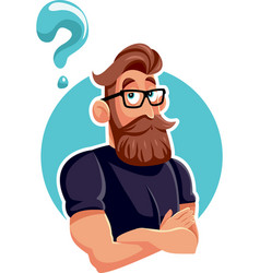 thinking hipster bearded man with question mark vector image