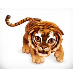 Tiger cub Funny animal 3d icon vector