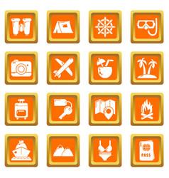 Travel summer icons set orange square vector