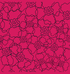 vibrant pink floral line art pattern vector image