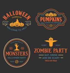 vintage set happy halloween badges vector image
