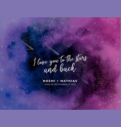 Watercolor galaxy wedding invitation template vector
