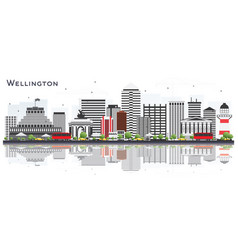 Wellington new zealand city skyline with vector