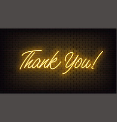 Yellow neon thank you lettering neon text of vector