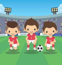 soccer players team with ball vector image