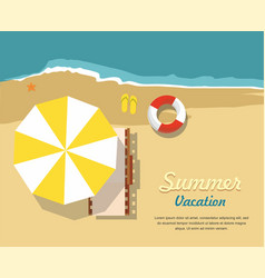 chaise lounge and umbrella summer sale banner vector image