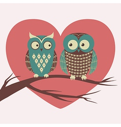 colorful with two owls in love sitting on a vector image
