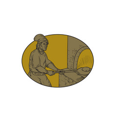 medieval baker bread peel wood oven oval drawing vector image