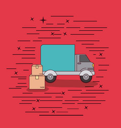 red background with truck service and package vector image