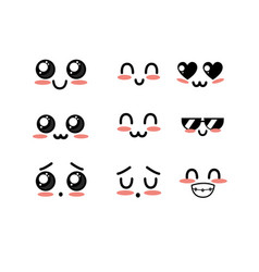set kawaii cute tender faces with expression vector image vector image