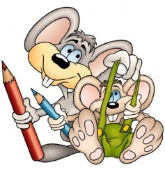 two mouses painters vector image