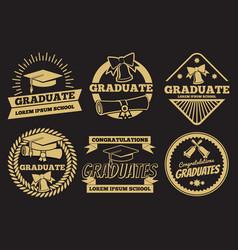 vintage student graduate badges graduation vector image