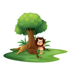 A lion standing beside an old tree vector image