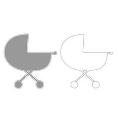 Baby carriage grey set icon vector