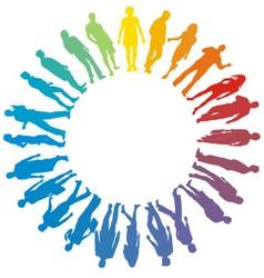 People rainbow star vector image vector image