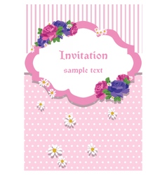 Rose invitation card with lace ornaments vector