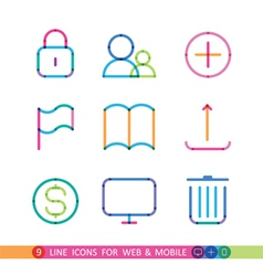set from 9 universal icons for web and mobile vector image