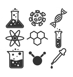 simple science icon set vector image vector image