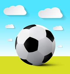 Soccer Ball on Field with Blue Sky and Cloud vector image