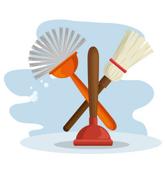 Cleaning supplies with brush and broom vector
