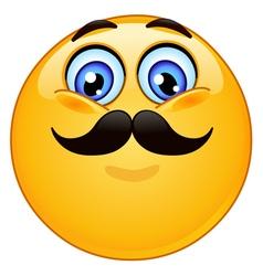 emoticon with mustache vector image vector image