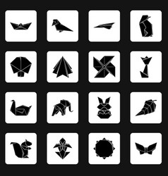 origami icons set simple style vector image