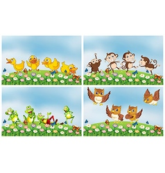 Scenes with animals in the field vector