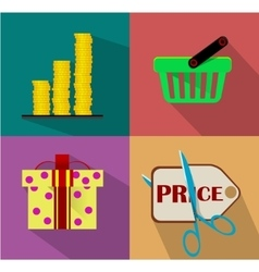 Shopping Flat icon set vector image vector image