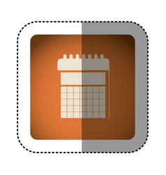sticker color square with calendar icon vector image