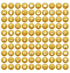 100 network icons set gold vector