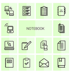 14 notebook icons vector image