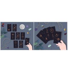 A set layout on tarot cards cards vector