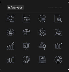 analytics thin line icons set vector image