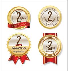 Anniversary retro vintage golden labels vector