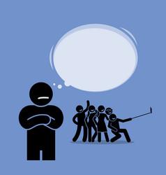 Antisocial or anti-social a man looking at a vector