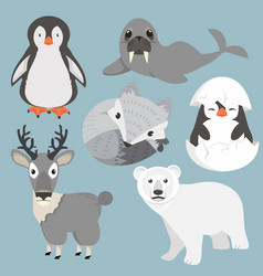 artic animals cartoon collection set vector image
