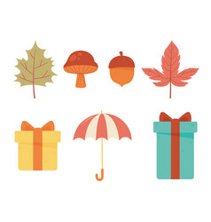 autumn icons collection umbrella gifts acorn vector image
