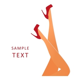 beautiful female legs wearing red high-heeled vector image