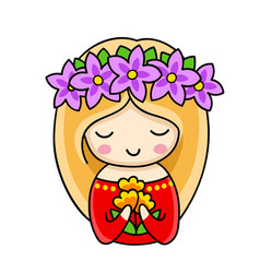 Blonde girl in a wreath violet flowers with vector