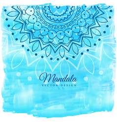 Blue watercolor background with mandala art vector