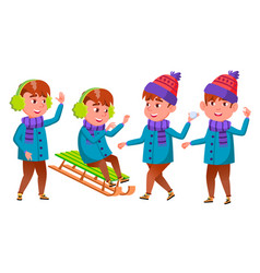boy set happy childhood winter holidays vector image