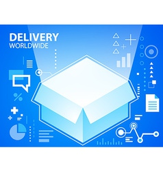Bright delivery box on blue background for b vector