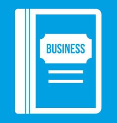 Business book icon white vector