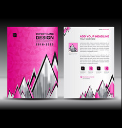 Business brochure flyer template in a4 size pink vector