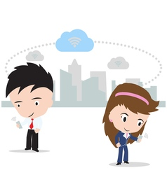 business man and woman working on cloud computing vector image
