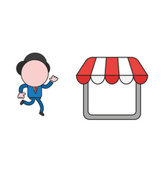 Businessman character running to shop store color vector